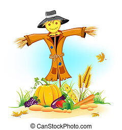 Scarecrow with Vegetable - illustration of scarecrow with...