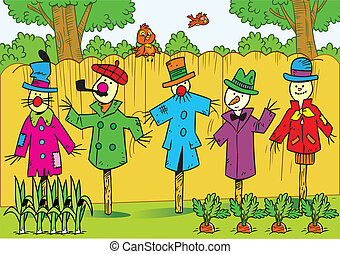 Scarecrows in the garden - The illustration shows a few ...