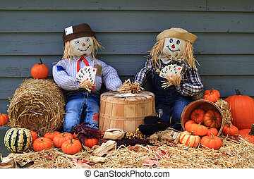 Scarecrows on brake - Humorous Thanksgiving picture with...