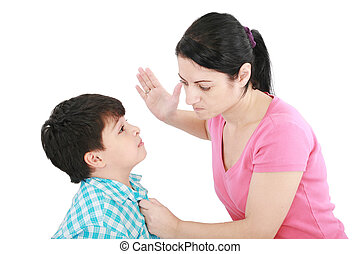 Scared 8 year old boy being abused or abducted by adult...