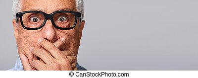 Scared afraid senior man fear.