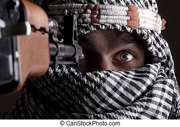 Scared aimed middle eastern man - Portrait of scared aimed...