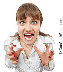 The scared amusing young woman shouts on a white background