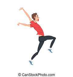 Scared and Panicked Man Running, Stressed Nervous Person, Human Emotions and Feelings Vector Illustration