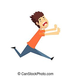 Scared and panicked young man running and shouting, emotional guy afraid of something vector Illustration on a white background