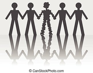 An illustration of a scared and shaking man in a human chain