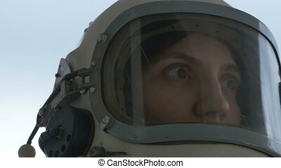 Scared and Suffering Cosmonaut Female - Close up shot with a...