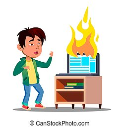 Scared Asian Kid Next To Burst Into Flame Laptop Vector. Isolated Illustration