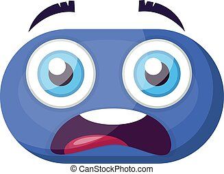 Scared blue emoji face vector illustration on a white background