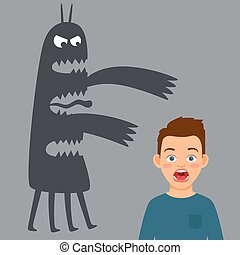 Scared boy and fear monster vector illustration