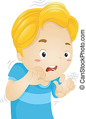 Scared Boy - Illustration of a Little Boy Quivering in Fear