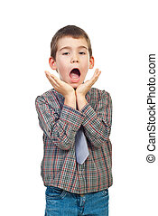 Scared boy shouting