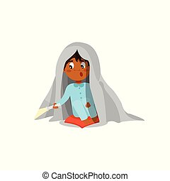 Scared boy sitting on the bed with flashlight and hiding under the blanket vector Illustration on a white background