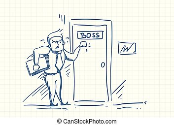 Scared Business Man Knocking Boss Door Afraid Of Blame Doodle