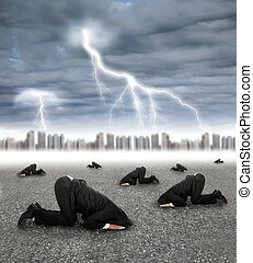 scared businessman hiding on the ground with storm coming
