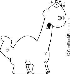 Scared Cartoon Apatosaurus - A cartoon illustration of a...