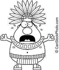 Scared Cartoon Aztec King