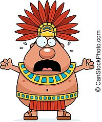 A cartoon illustration of an Aztec King looking scared.