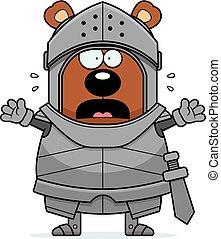 Scared Cartoon Bear Knight