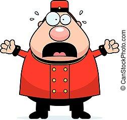 Scared Cartoon Bellhop - A cartoon illustration of a bellhop...
