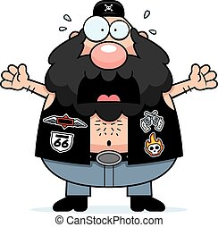 Scared Cartoon Biker