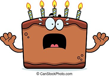 Scared Cartoon Birthday Cake - A cartoon illustration of a...