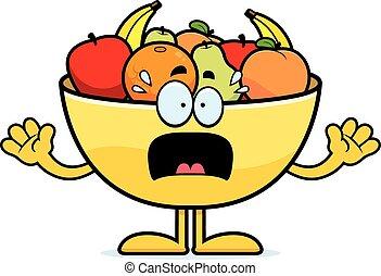 Scared Cartoon Bowl of Fruit