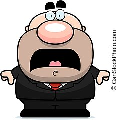 Scared Cartoon Businessman