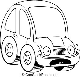 Scared Cartoon Car - A cartoon illustration of a car looking...