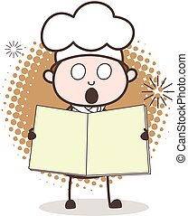 Scared Cartoon Chef  with Blank Book Vector Illustration