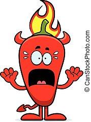 Scared Cartoon Chili Pepper Devil