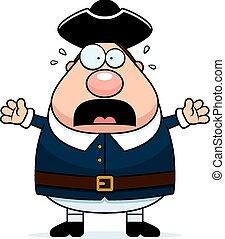 Scared Cartoon Colonial Man