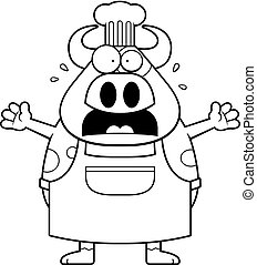 Scared Cartoon Cow Chef