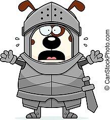 Scared Cartoon Dog Knight