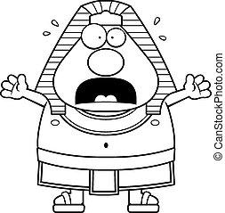 Scared Cartoon Egyptian Pharaoh - A cartoon illustration of...