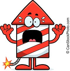 Scared Cartoon Firework - A cartoon illustration of a...