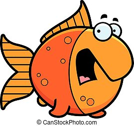 Scared Cartoon Goldfish - A cartoon illustration of a...