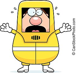 A cartoon illustration of a man in a hazmat suit looking scared.