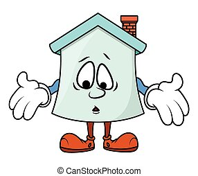 Scared Cartoon Home Showing Hands