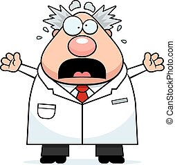 Scared Cartoon Mad Scientist - A cartoon illustration of a...