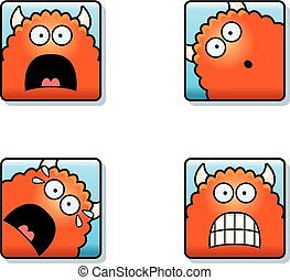 Scared Cartoon Monster Icons