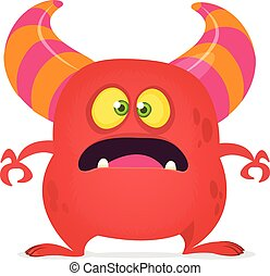 Scared cartoon monster laughing. Vector red monster illustration. Halloween design