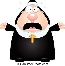 A cartoon illustration of a nun looking scared.
