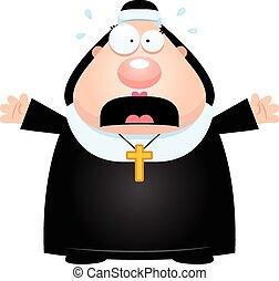 Scared Cartoon Nun - A cartoon illustration of a nun looking...
