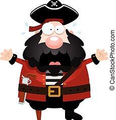 Scared Cartoon Pirate - A cartoon illustration of a pirate...