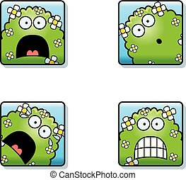 Scared Cartoon Plant Monster Icons