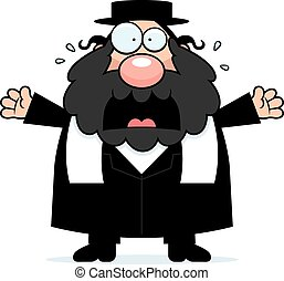 Scared Cartoon Rabbi - A cartoon illustration of a rabbi...
