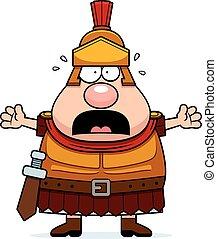 Scared Cartoon Roman Centurion - A cartoon illustration of a...