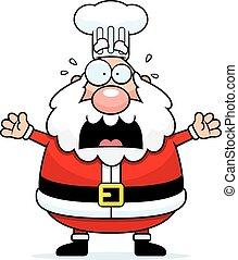 Scared Cartoon Santa Claus Chef