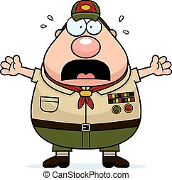 Scared Cartoon Scoutmaster - A cartoon illustration of a...